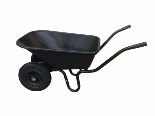 110L TWIN WHEELBARROW WITH PNEUMATIC WHEEL & BLACK PLASTIC BODY WHEEL BARROW