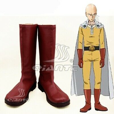 One Punch Man Saitama Caped Baldy Hagemanto Cosplay Shoes Red Boots Customized