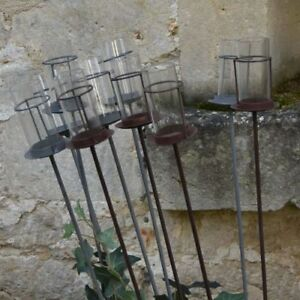 Details About 1 Garden Tea Light Holder 1m Grey Zinc Metal Stake Outdoor Gl Candle Lantern