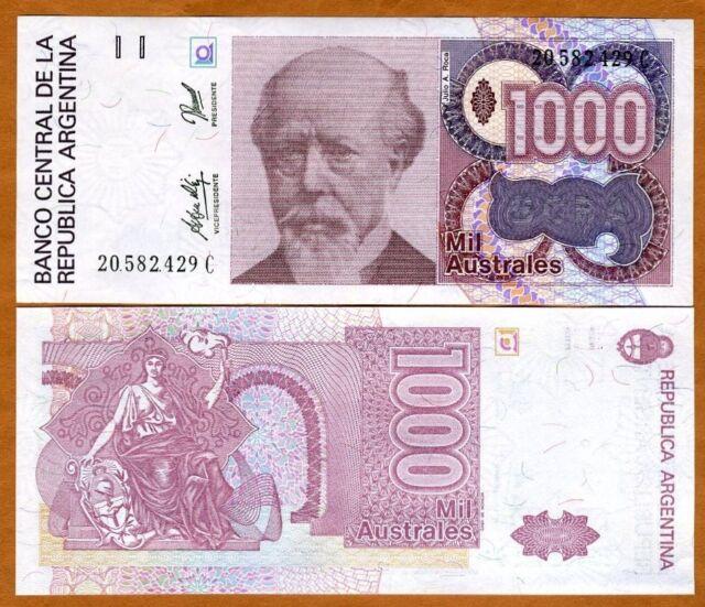 Argentina, 1000 Australes, ND (1988 - 1990), P-329d (329), UNC > Liberty