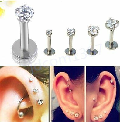 Punk Round Gem Tragus Lip Ring Monroe Ear Cartilage Stud Earring Body Piercing e