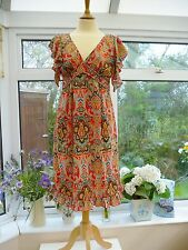 GORGEOUS *JOE BROWNS* RED & MULTI INDIAN INSPIRED FRILLED TEA STYLE DRESS Sz 12