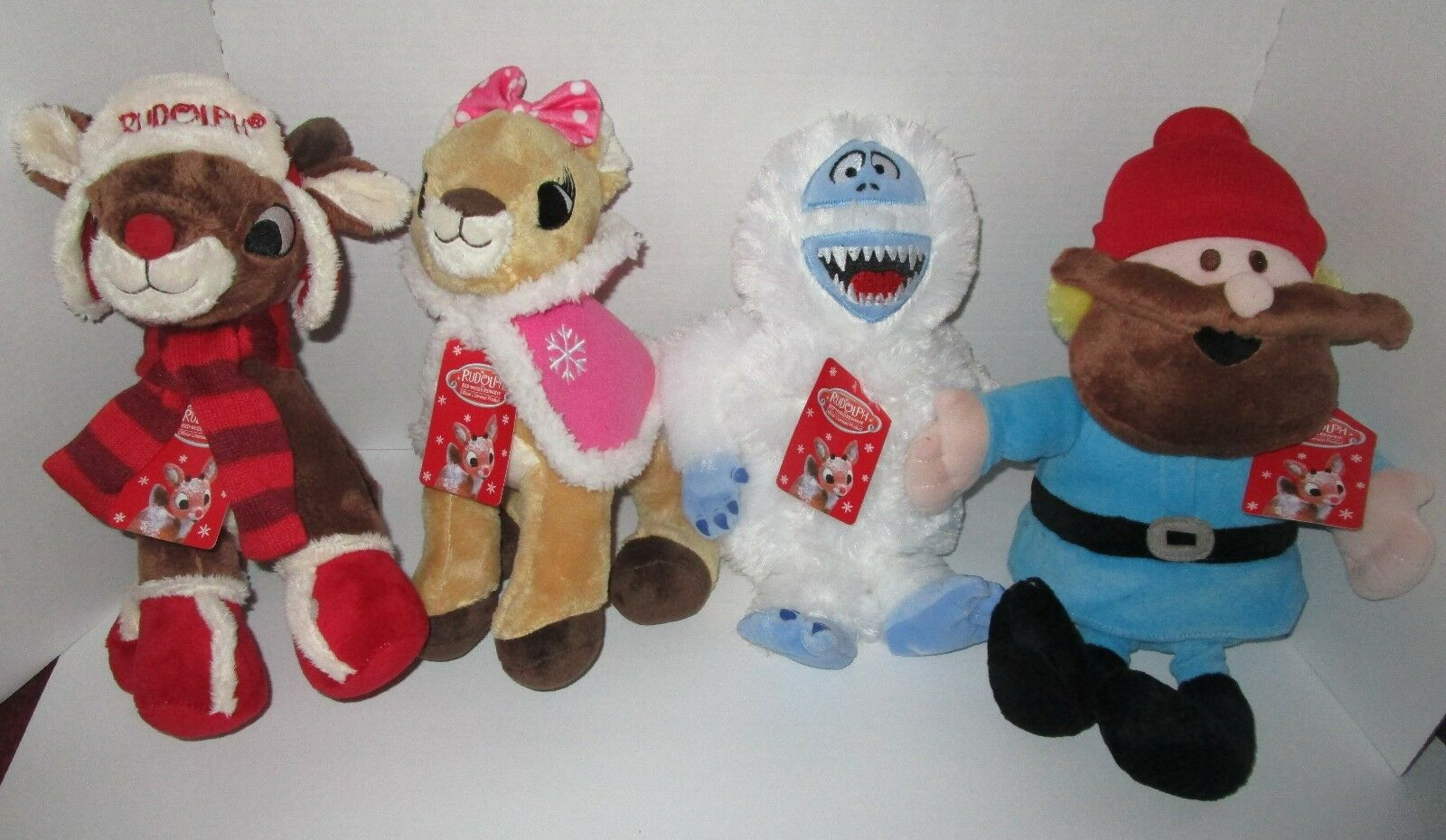 Lot 4 Christmas Soft Toys Rudolph Reindeer Clarice Yukon Cornelius Bumble DanDee
