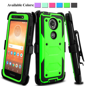 brand new 115e7 3d0df Details about For Motorola Moto E5 Plus/Supra Shockproof Case With  Kickstand Belt Clip Holster