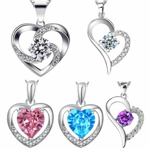Collar 925 Sterling plata chapados corazón cadena circonita joyas regalo nuevo