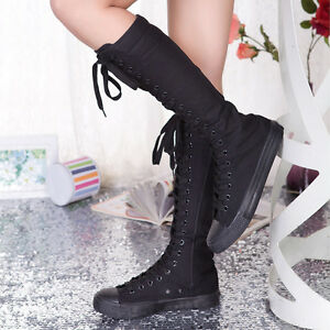 8126d0d0ae9 Punk Womens Canvas Sneakers Tall Mid Calf Lace up Knee high Boots ...
