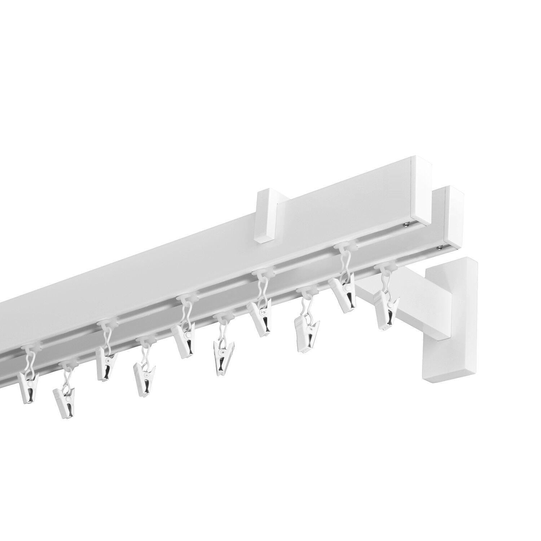 Gardinenstange Innenlauf 34 12mm 2-läufig in Weiß-Glänzend Aluminium (63) | Verschiedene aktuelle Designs