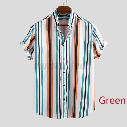 New Men/'s Summer Hawaiian Short Sleeve Tee Shirt Beach Party Striped Tops Blouse
