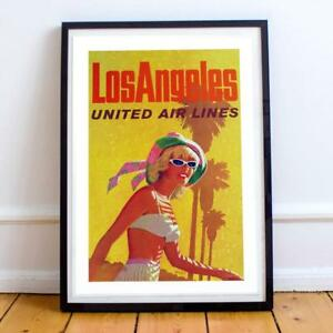 Los Angeles California Delta Air lines Cleo Vintage Travel Advertisement Poster