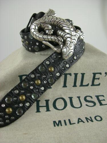 Reptile/'s House original Gürtel mit Schliesse Sattelleder aufwendige Deco neu 01