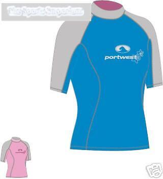 Portwest Ladies Short Sleeved Rash Vest SKY BLUE UK 14