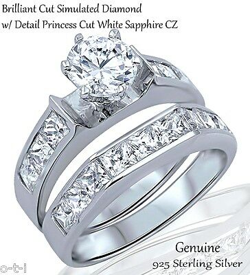 Brilliant Engagement Wedding Princess Cut Sapphire CZ Sterling Silver Ring Set