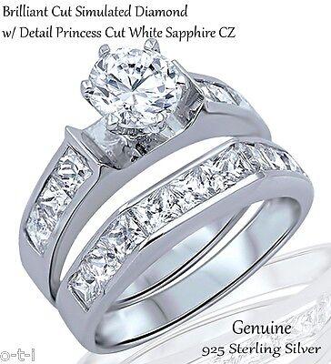 Brilliant Engagement Wedding Princess Cut Sapphire CZ Sterling Silver Ring Set