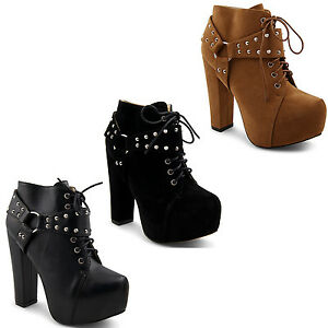 New-Ladies-High-Platform-Lace-Up-Studded-Ankle-Boots-Block-Heel-Size-3-4-5-6-7-8