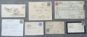 7 poststukken emissie Willem III 1872, afgestempeld met puntstempel