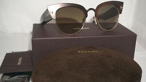 87b4d17c0c0a5 TOM FORD New Sunglasses Alexandra-02 Dark Brown Cateye Brown TF607 ...