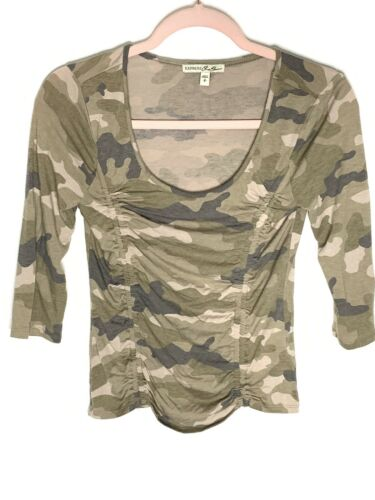 Express One Eleven Double Ruched Camo Top Women's
