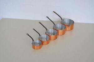5 Old French Copper Pans Copper Pot Pans Set Handle stewpots cast a