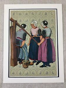 1932 Vintage Stampa Olandese Fattoria Ragazze Tradizionale Costume Olanda Raro