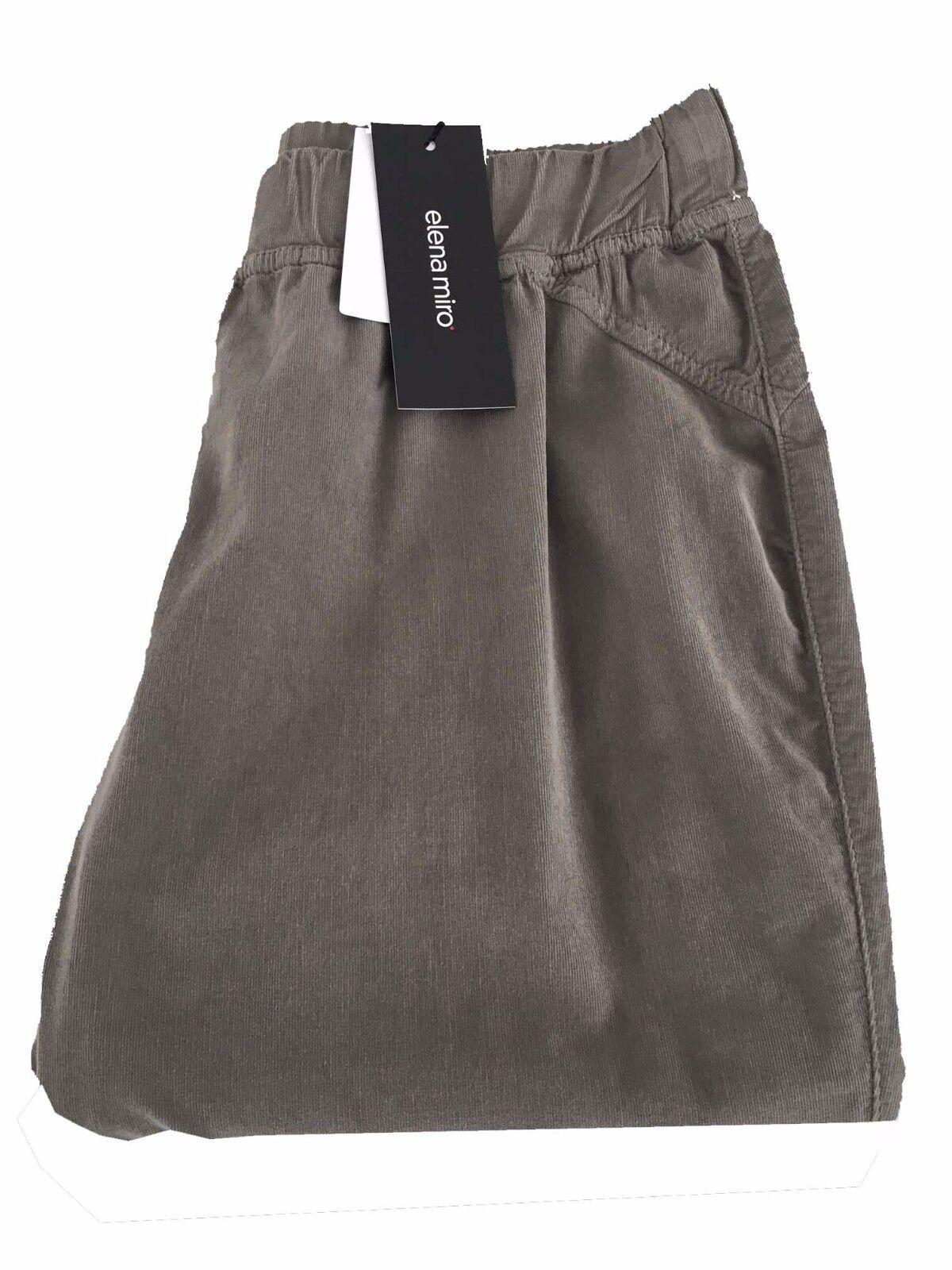 Pantalone damen tortora ELENA MIRO' cotone velluto a righe con elastico in vita