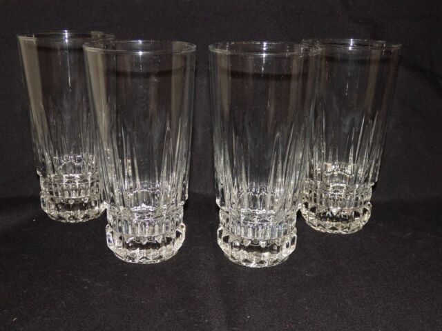 "D'ARQUES /DURAND ""BARCELONA"" CRYSTAL 14oz FLAT ICED TEA TUMBLERS 6-3/8"" Set of 4"