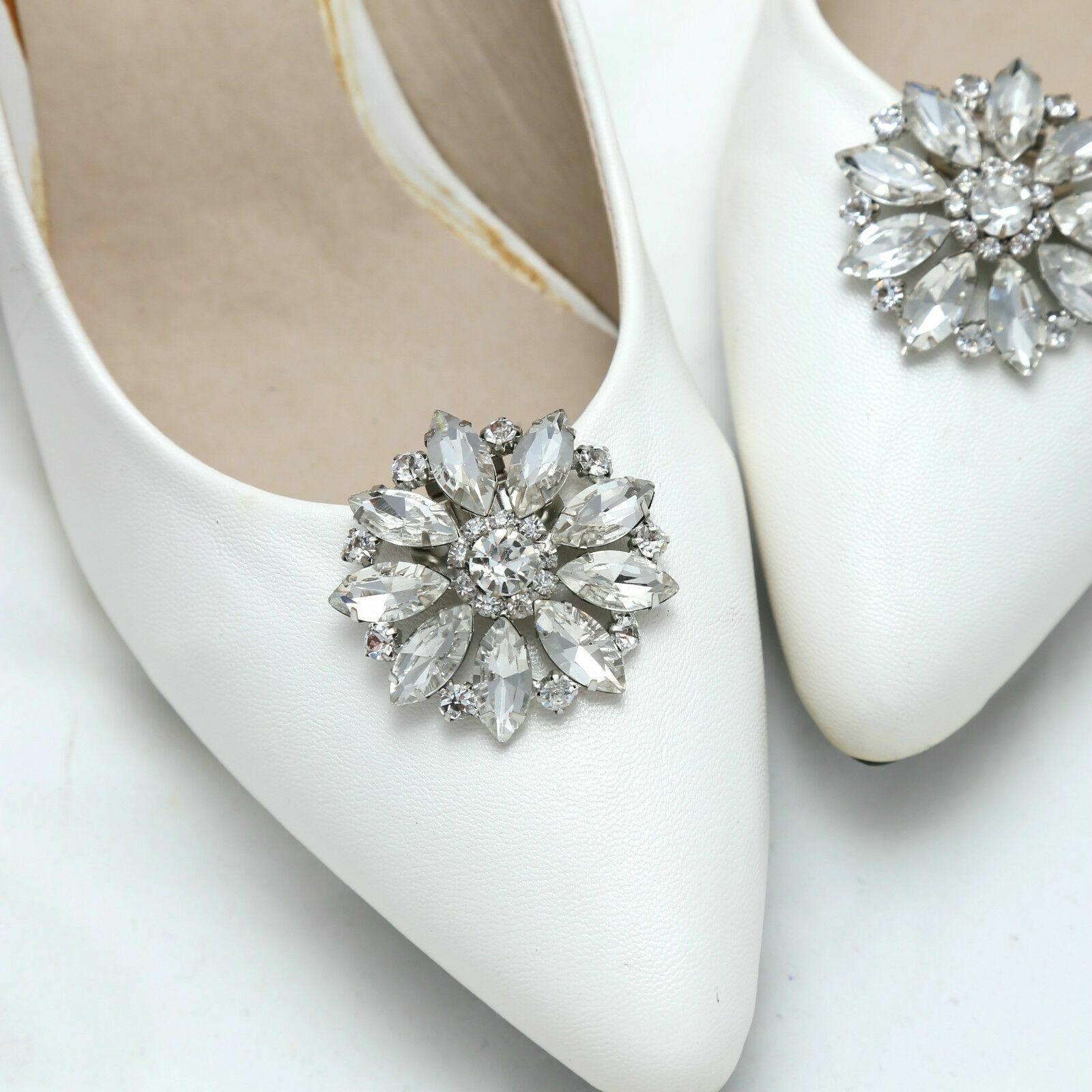 2 Pcs Rhinestone Crystal Round Style Wedding Shoe Clips Shoe Charms