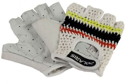 WHITE NEW POLARIS VELO CITY TRADITIONAL CROCHET ROAD CYCLING GLOVES MITTS