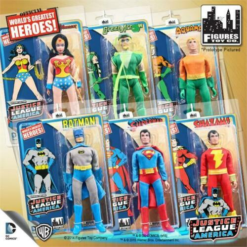 JUSTICE LEAGUE SET OF 6; 8 INCH  RETRO  ACTION FIGURES NEW FULL SET
