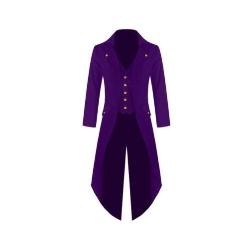 Men/'s Vintage Steampunk Tailcoat Jacket Gothic Victorian Frock Coats S-4XL Sizes