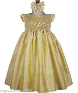 New-Beautiful-Girls-Elegant-Spring-Summer-Gold-Silk-Hand-Smocked-Dress-16741