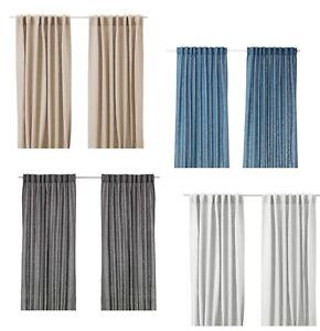Ikea Aina Curtains 1 Pair Blue White Dark Grey Beige