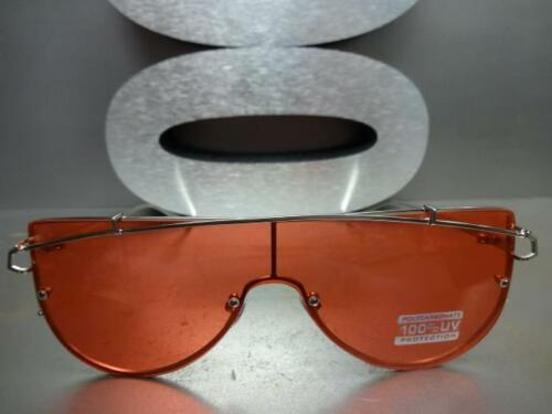 New CLASSIC VINTAGE RETRO SHIELD Style SUN GLASSES Small Silver Frame Red Lens