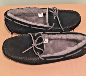 5e8e06b2f52 Details about UGG OLSEN Men Black Suede Leather Sheepskin Moccasin Shoes  Driving Slippers 18