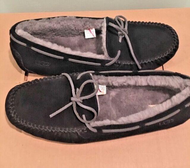 f7a9bdecc492de UGG Olsen Men Black Suede Leather Sheepskin Moccasin Shoes Driving Slippers  18 for sale online