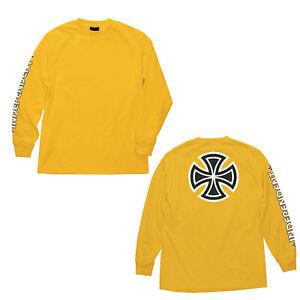 Independent-Trucks-Bar-amp-Iron-Cross-Skateboard-Long-Sleeve-T-Shirt-Gold-M-XXL