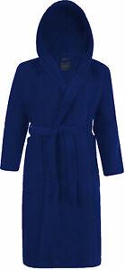100% Coton Terry Tissu à Capuche Col Châle Bleu Bath Robe Peignoir-afficher Le Titre D'origine