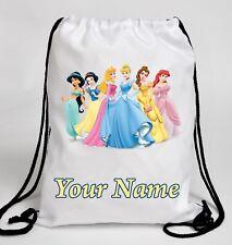 Personalised DISNEY PRINCESS Drawstring Swimming Gym Dance School Bag Rucksack
