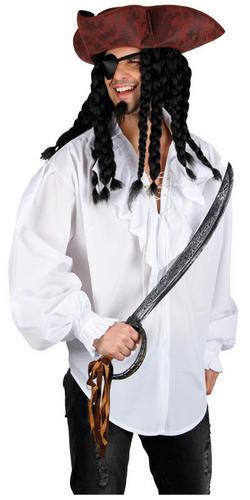 Camicia bianca da uomo Pirata Costume High Seas Buccaneer adulti Costume Accessorio