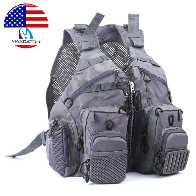 Fly Fishing Mesh Vest Adjustable Mutil-Pocket Outdoor Sport Backpack Cool Gray