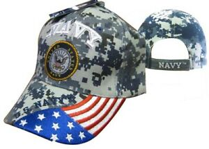 a44eb8bfb Details about US Navy Seal Patriotic USA Flag Blue ACU Digital Camo  Embroidered Cap Hat