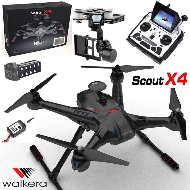 Walkera Carbono Scout X4 Fpv Gps quadricóptero Drone devof12e Transmisor, 3d cardán