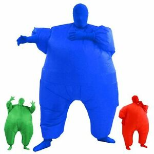 Inflatable Fat Chub Suit Fancy Dress Party Costume Green /& Blue Red