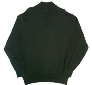 Jos-A-Bank-Mens-XL-1-4-Zip-Pullover-Sweater-Dark-Green-100-Merino-Wool