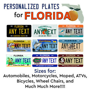 Florida Personalized License Plates >> Details About Florida Personalized Custom License Plate Tag For Auto Car Bicycle Atv Bike Etc