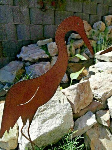 Reiher zum Stecken Rostdeko Rost Optik Gartenteich Metall Fischreiher 50cm