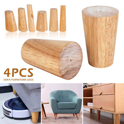 4x Solid Wood Wooden Cone Furniture Legs For Sofa Table Chair Stool Chest Sofa