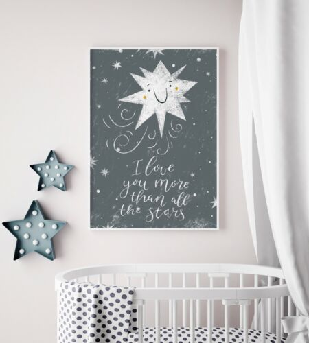 I Love You More Than All The Stars Grey Nursery Art Picture Moon Print