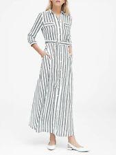 Banana Republic Black White Striped Maxi Shirt Dress Sz Petite 2 ...
