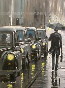 Pete-Rumney-Art-Original-Canvas-Painting-London-Traffic-Heading-Home-Rain-Taxis