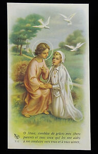 Vintage Holy Card French Girl First Communion Prayer For Parents 1960 Ebay
